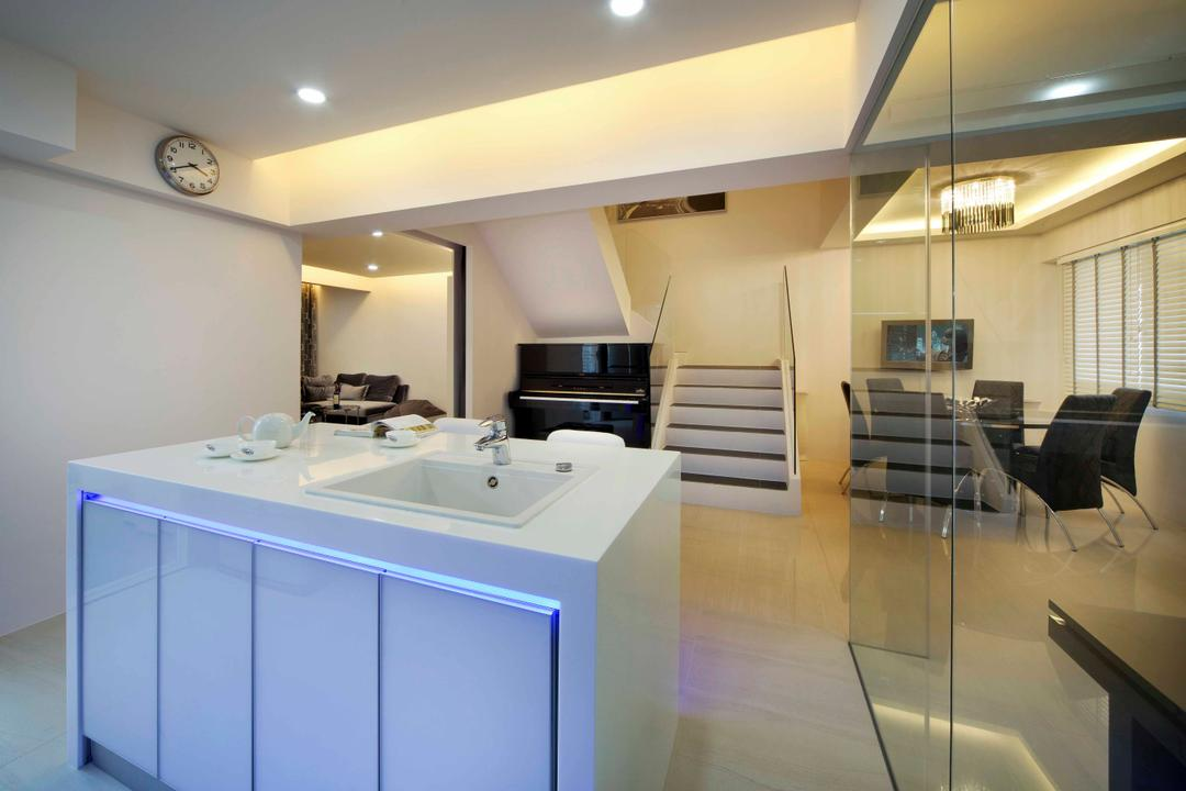 Woodland Ring Road (Block 656), Boon Siew D'sign, Modern, Kitchen, HDB, Cabinet, Sink, White Kitchen Table, Banister, Handrail, Staircase