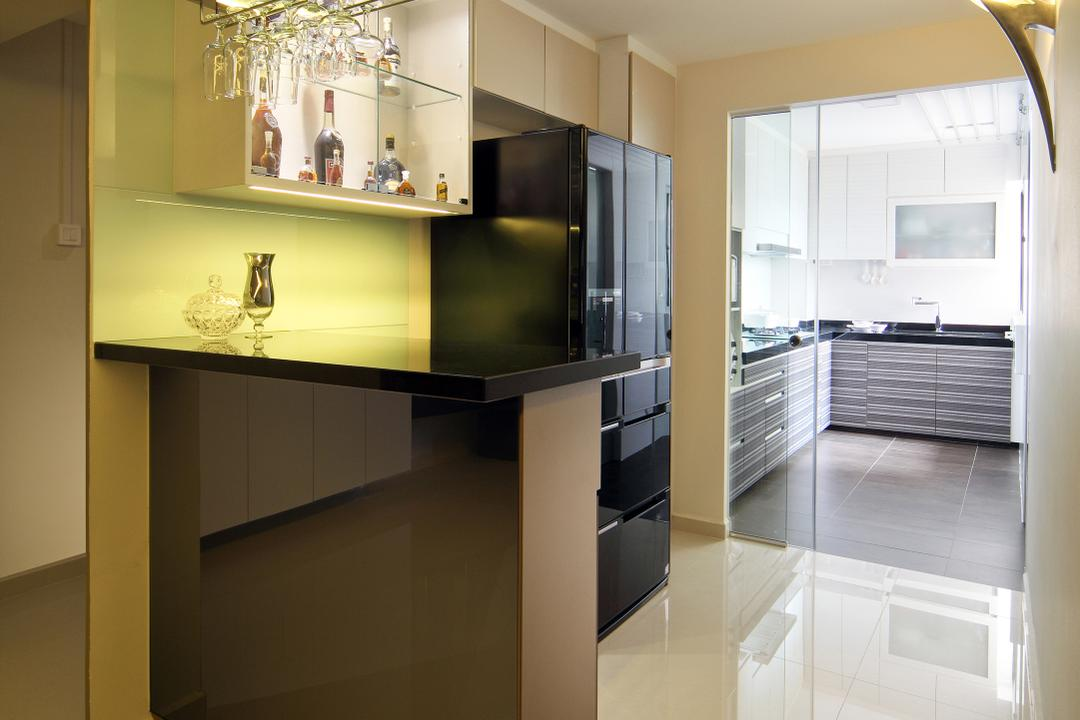 Bishan Street 13 (Block 194), Boon Siew D'sign, Modern, Kitchen, HDB, Black Glossy Table Top, Black Table Top, Glossy Table Top