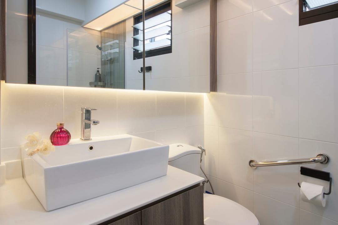 Compassvale Crescent (Block 294A), Corazon Interior, Scandinavian, Minimalistic, Bathroom, HDB, Mirror, Sink Countertop, Bathroom Tiles, Boxy Sink, Sink, Indoors, Interior Design, Room