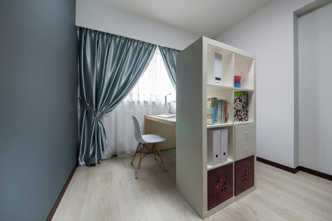 Compassvale Crescent (Block 294A), Corazon Interior, Scandinavian, Minimalistic, Study, HDB, Study Room, Ikea Shelf, Study Table, Dsw Chair, Sling Curtain, Grey Wall, Ikea, Flooring, Bedroom, Indoors, Interior Design, Room