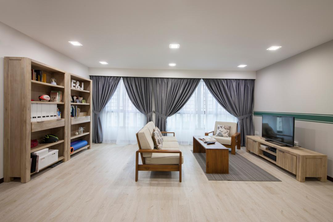 Compassvale Crescent (Block 294A), Corazon Interior, Scandinavian, Minimalistic, Living Room, HDB, Sling Curtain, Console Table, Wooden Shelves, Downlights, Divider, Laminated Wood Flooring, Indoors, Interior Design, Flooring, Coffee Table, Furniture, Table, Bedroom, Room