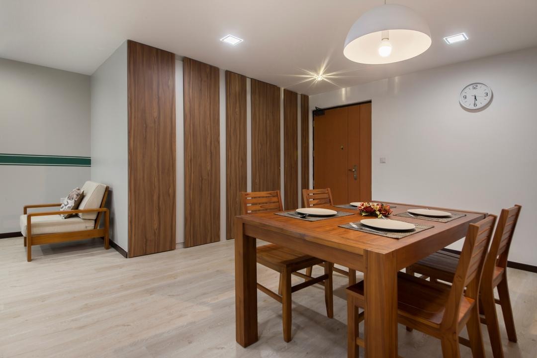 Compassvale Crescent (Block 294A), Corazon Interior, Scandinavian, Minimalistic, Dining Room, HDB, Pendant Lighting, Wooden Dining Table, Wooden Dining Chair, Laminated Wood Flooring, Furniture, Dining Table, Table, Basement, Indoors, Room, Interior Design, Chair