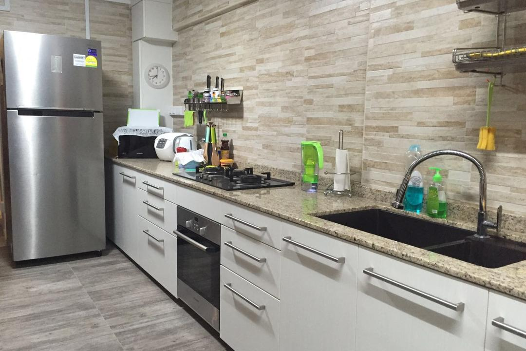 Dover Crescent, DL Abode Design Solutions, Contemporary, Kitchen, HDB, White Cupboard, Feature Tiles, Marble Top, Kitchen Appliances, Faucet, Drawer, Contemporary Kitchen