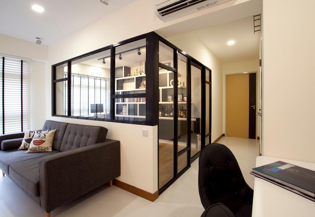 Scandinavian, HDB, Living Room, Anchorvale, Interior Designer, Voila, Couch, Furniture