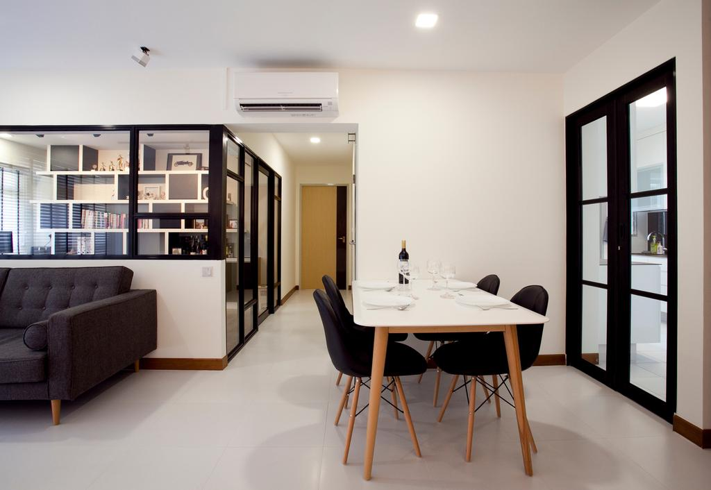 Scandinavian, HDB, Dining Room, Anchorvale, Interior Designer, Voila, Black Sofa, White Walls, Hallway, Corridor, Tile, Couch, Furniture, Chair, Dining Table, Table, Indoors, Interior Design, Room