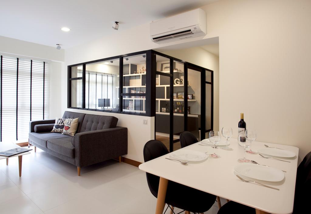 Scandinavian, HDB, Dining Room, Anchorvale, Interior Designer, Voila, Venetian Blinds, White Wall, Dining Table, Grey Sofa, Pencil Legs, Furniture, Table, Indoors, Interior Design, Room, Couch