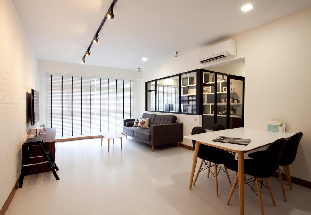 Scandinavian, HDB, Living Room, Anchorvale, Interior Designer, Voila, Couch, Furniture, Chair, Dining Table, Table, Dining Room, Indoors, Interior Design, Room