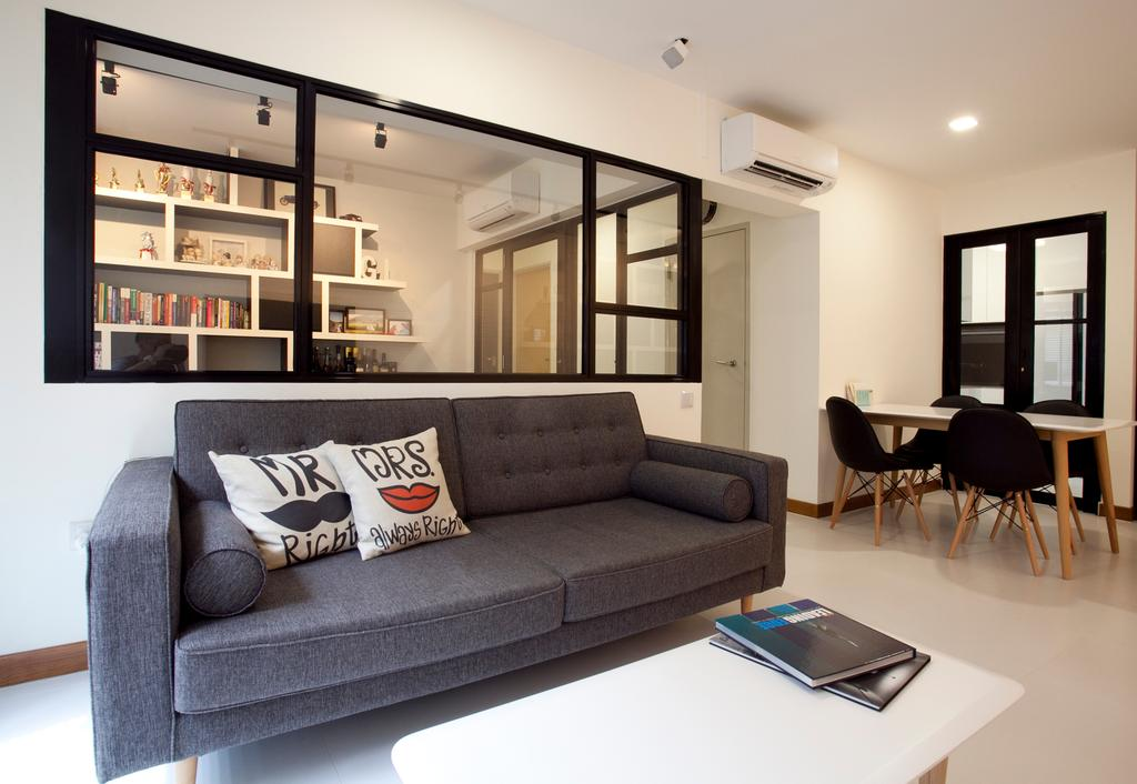 Scandinavian, HDB, Living Room, Anchorvale, Interior Designer, Voila, Black Sofa, Black Chair, Couch, Furniture, Dining Table, Table