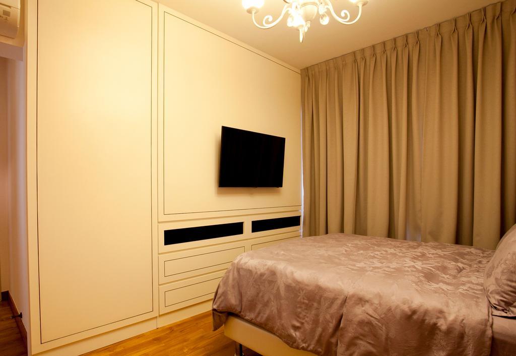 Scandinavian, HDB, Bedroom, Anchorvale, Interior Designer, Voila, Parquet, Chandelier, Bed, Furniture, Indoors, Interior Design, Room