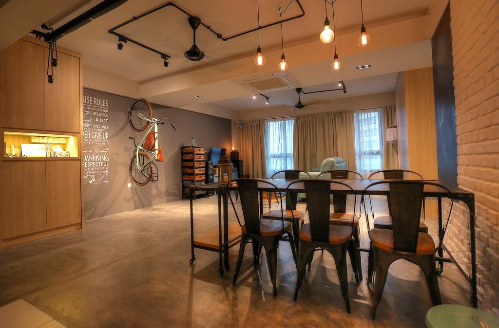 Scandinavian, HDB, Dining Room, Punggol Emerald (Block 265C), Interior Designer, Ingenious Design Solutions, Chair, Furniture, Dining Table, Table, Bicycle, Bike, Transportation, Vehicle, Indoors, Interior Design, Room