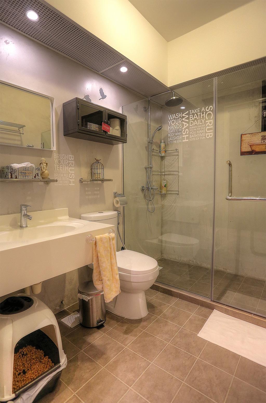 Scandinavian, HDB, Bathroom, Punggol Emerald (Block 265C), Interior Designer, Ingenious Design Solutions, Glass Shower, Ceramic Tiles, Decoration, Accessories, Recessed Lights, False Ceiling