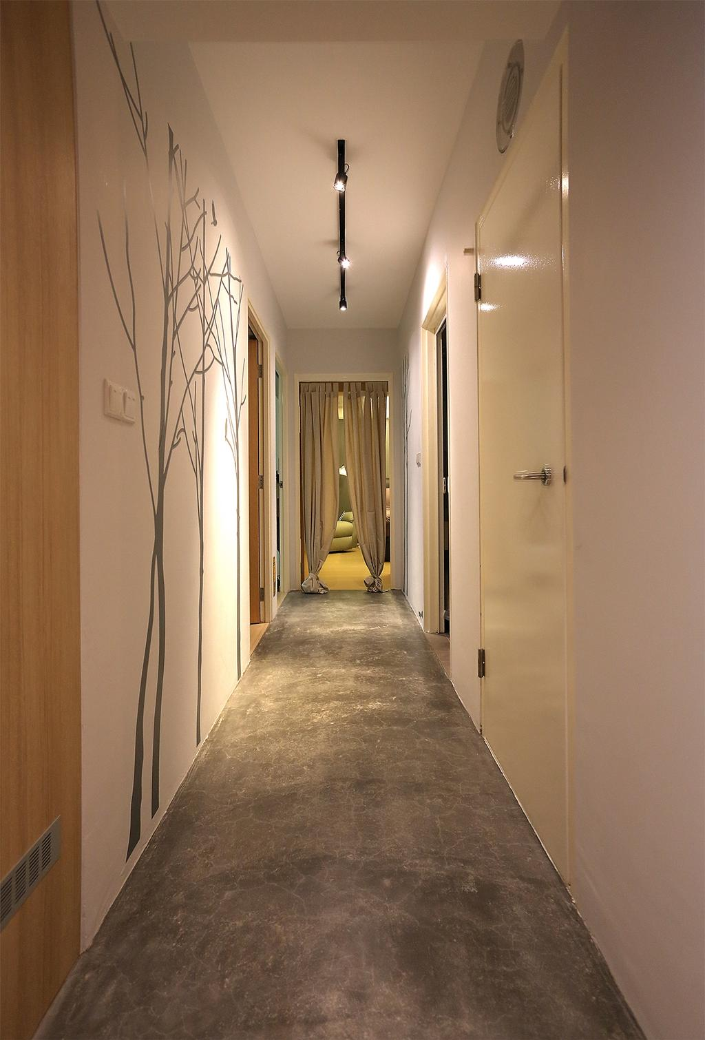 Scandinavian, HDB, Bedroom, Punggol Emerald (Block 265C), Interior Designer, Ingenious Design Solutions, Corridor, Wall Sticker, Track Light, Cement Flooring
