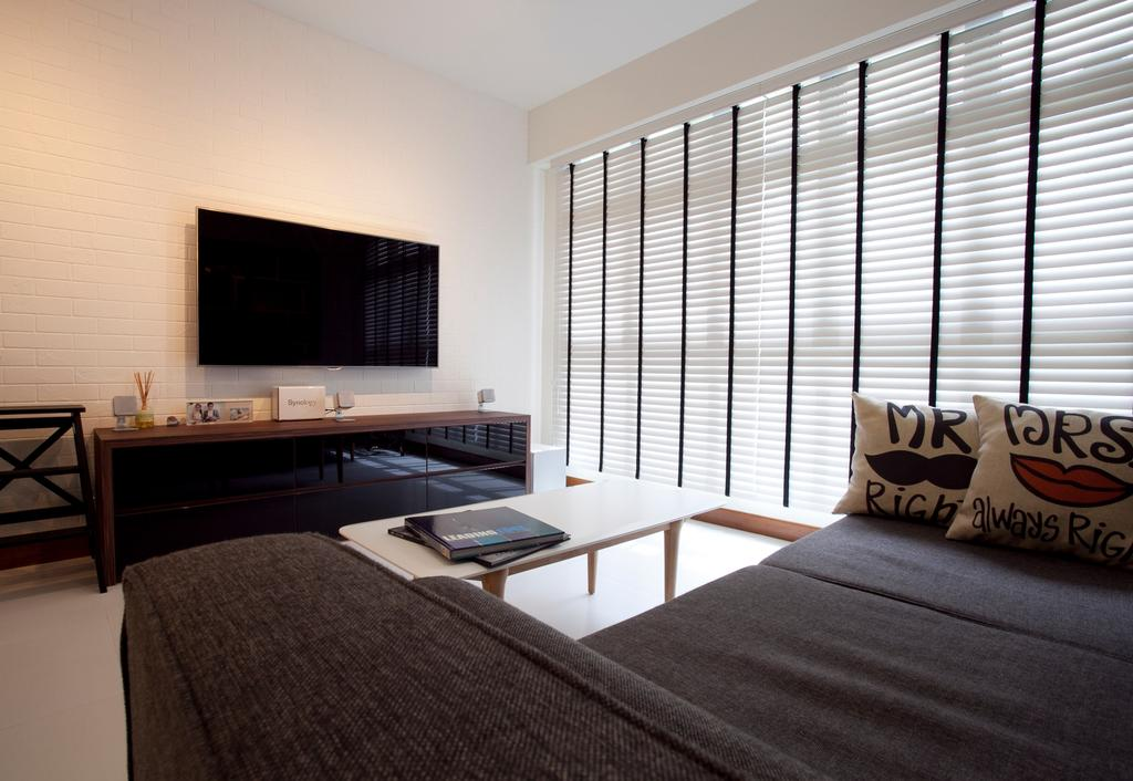 Scandinavian, HDB, Living Room, Anchorvale, Interior Designer, Voila, Black Chair, Venetian Blinds, Brick Wall, Dining Table, Furniture, Table, Couch