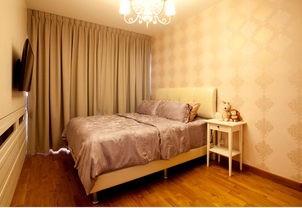 Scandinavian, HDB, Bedroom, Anchorvale, Interior Designer, Voila, Chandelier, Wallpaper, Parquet, Indoors, Interior Design, Room, Bed, Furniture