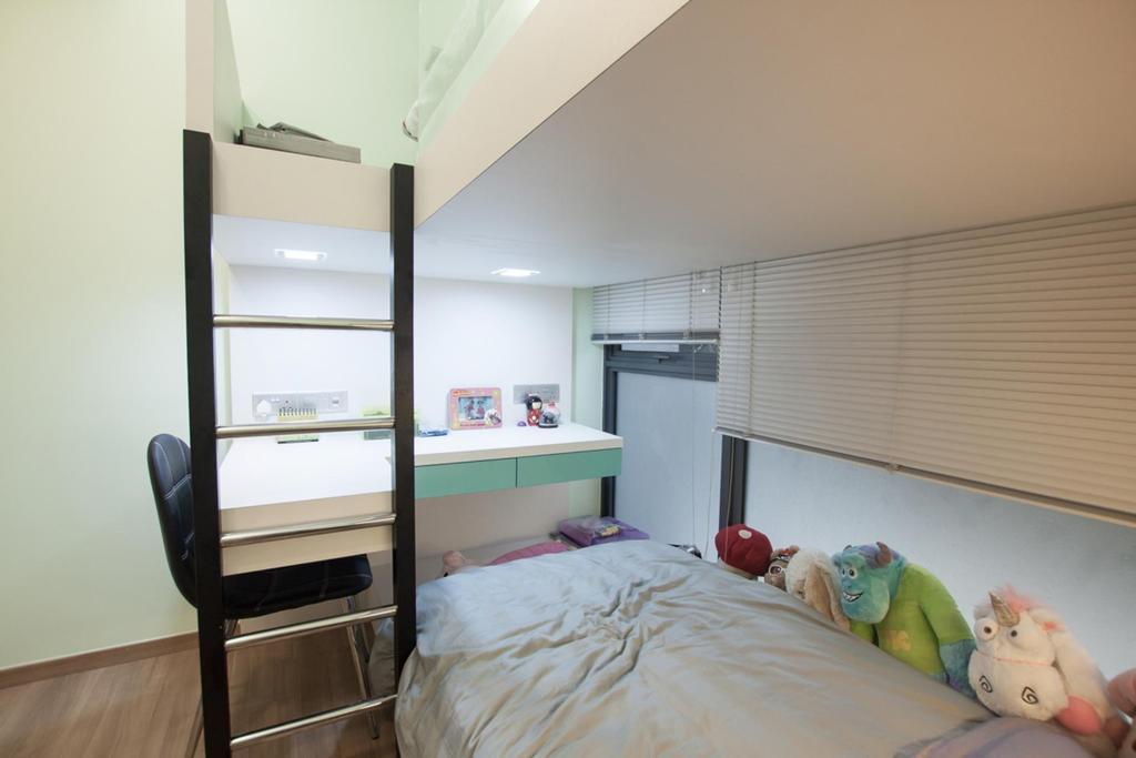 Modern, Condo, Bedroom, Blossom Residences, Interior Designer, Space Atelier, Ladder, Bed, Furniture, Chair, Indoors, Interior Design, Room