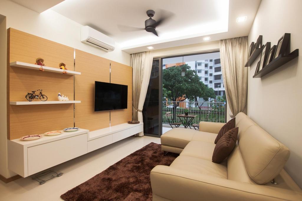 Modern, Condo, Living Room, Blossom Residences, Interior Designer, Space Atelier, L Shaped Sofa, Wall Mount Shelf, Flatscreen Tv, Couch, Furniture, Indoors, Interior Design, Room