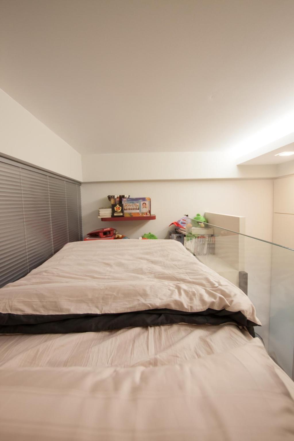 Modern, Condo, Bedroom, Blossom Residences, Interior Designer, Space Atelier, Double Decker, Bed, Furniture, Indoors, Interior Design, Room, Shelf