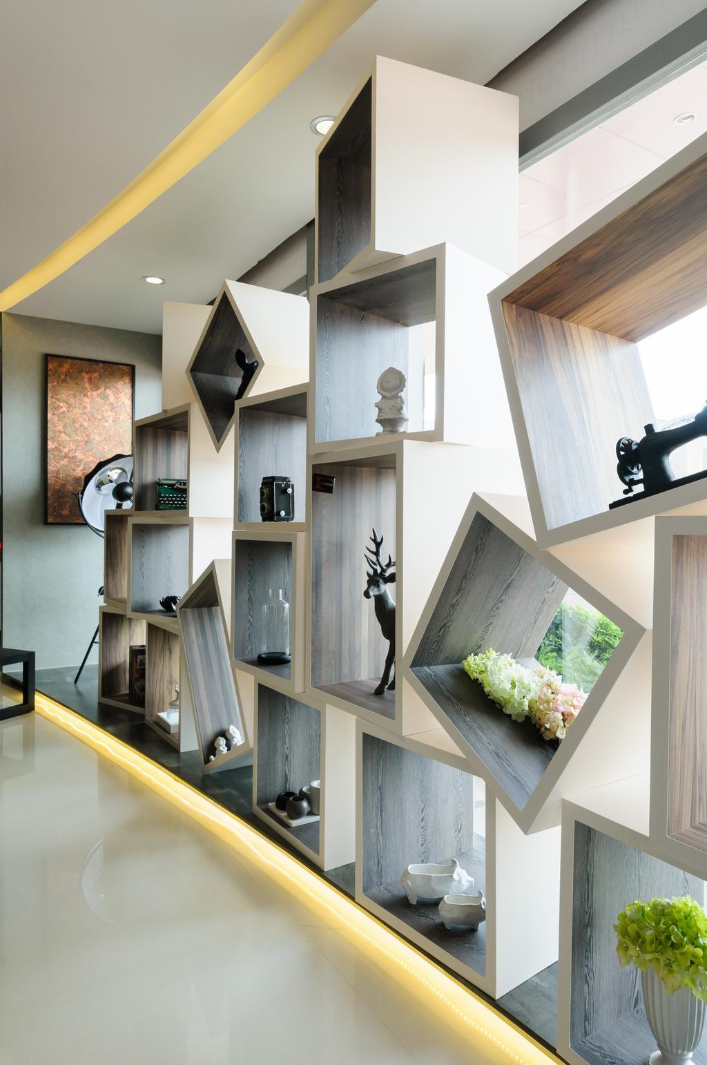 Starry Homestead Studio, Commercial, Interior Designer, Starry Homestead, Eclectic, Living Room, Square Shelf, Display, Concealed Lighting, Indoors, Interior Design