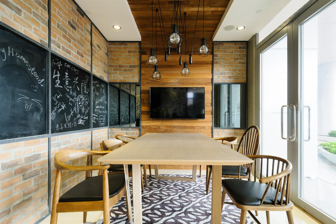 Starry Homestead Studio, Starry Homestead, Eclectic, Dining Room, Commercial, See Through Doors, Wooden Armchair, Hanging Lights, Blackboard, Chair, Furniture, Indoors, Interior Design, Room, Bed, Dining Table, Table