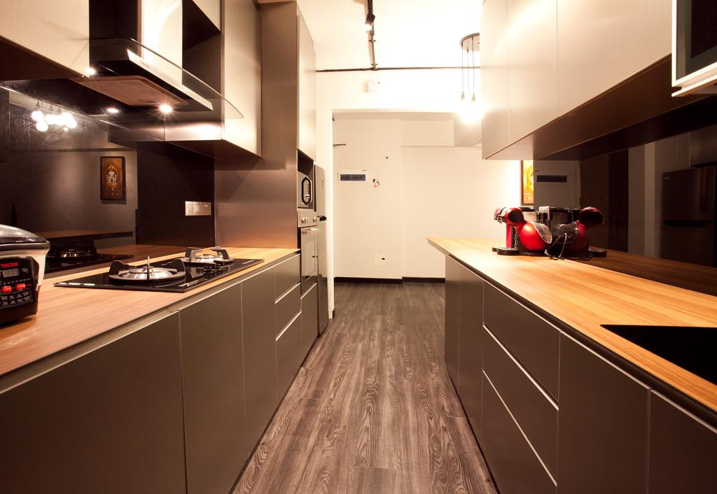 Industrial, HDB, Kitchen, Punggol Place (Block 274A), Interior Designer, Voila, Wood Laminate, Parquet, Motor Scooter, Motorcycle, Transportation, Vehicle, Vespa