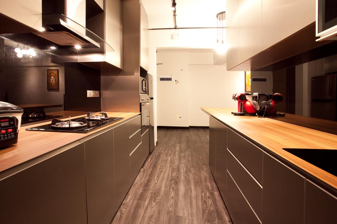 Punggol Place (Block 274A), Voila, Industrial, Kitchen, HDB, Wood Laminate, Parquet, Motor Scooter, Motorcycle, Transportation, Vehicle, Vespa