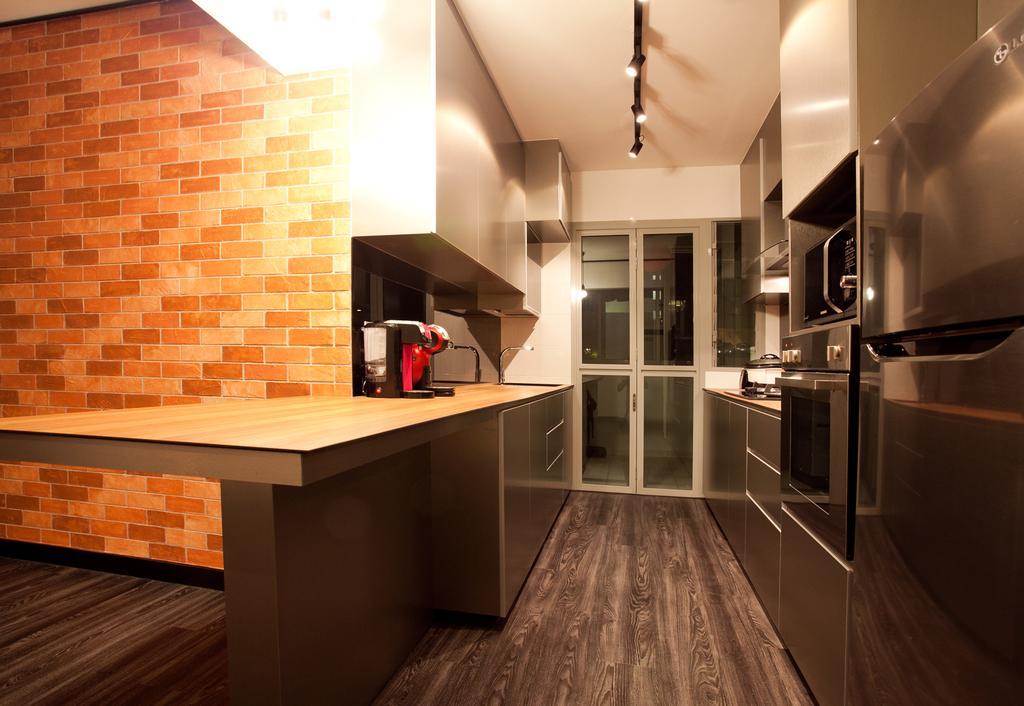 Industrial, HDB, Kitchen, Punggol Place (Block 274A), Interior Designer, Voila, Brick Wall, Track Lighting, Trackie, Flooring, Indoors, Interior Design