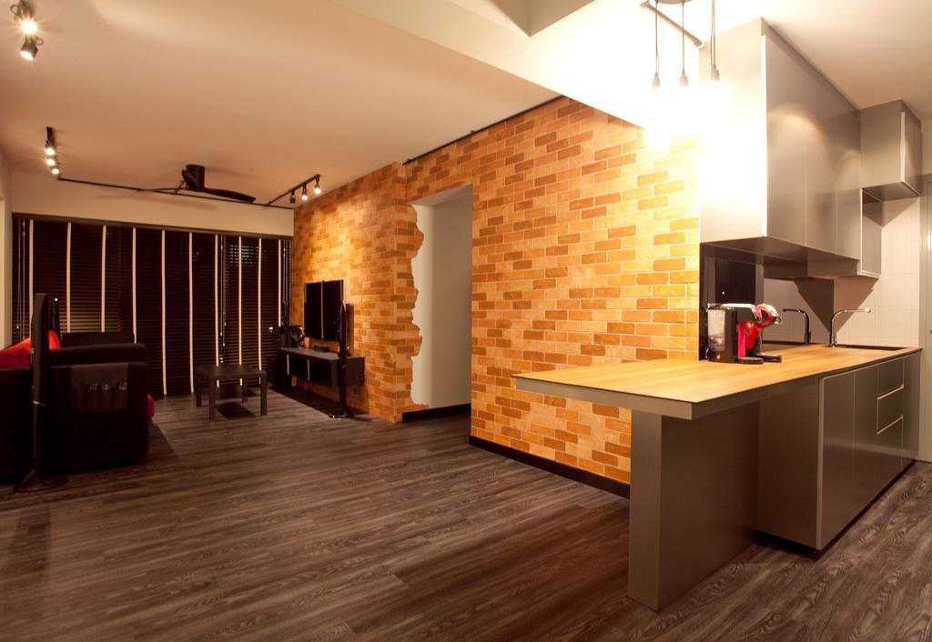 Industrial, HDB, Dining Room, Punggol Place (Block 274A), Interior Designer, Voila, Extended Table Top, Kitchen Island, Extended Kitchen Top, Indoors, Interior Design, Hardwood, Wood, Flooring
