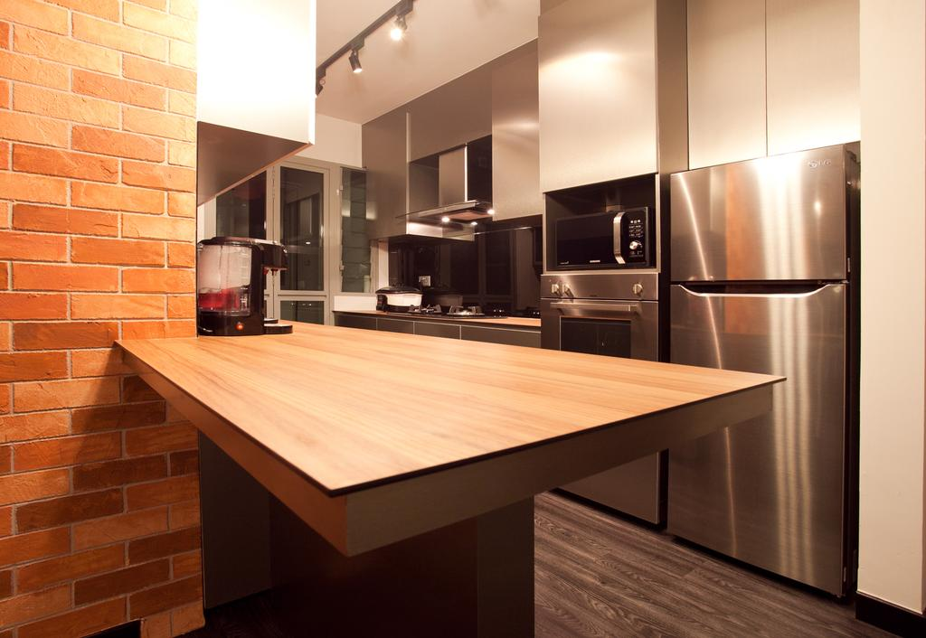 Industrial, HDB, Dining Room, Punggol Place (Block 274A), Interior Designer, Voila, Brick Wall, Wood Laminate, Parquet, Dining Table, Furniture, Table