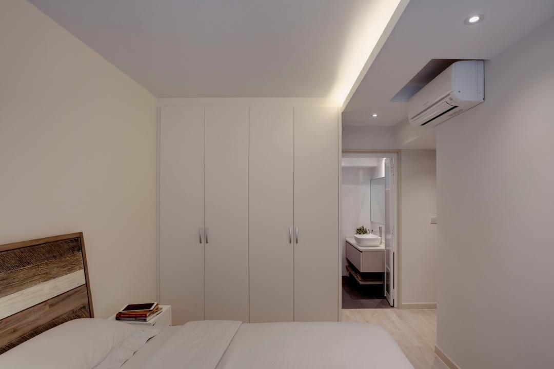 Tampines Street 86 (Block 871B), Liid Studio, Contemporary, Bedroom, HDB, White Bedroom, White Wardrobe, Wood Headboard, Down Lights, , Indoors, Interior Design, Room