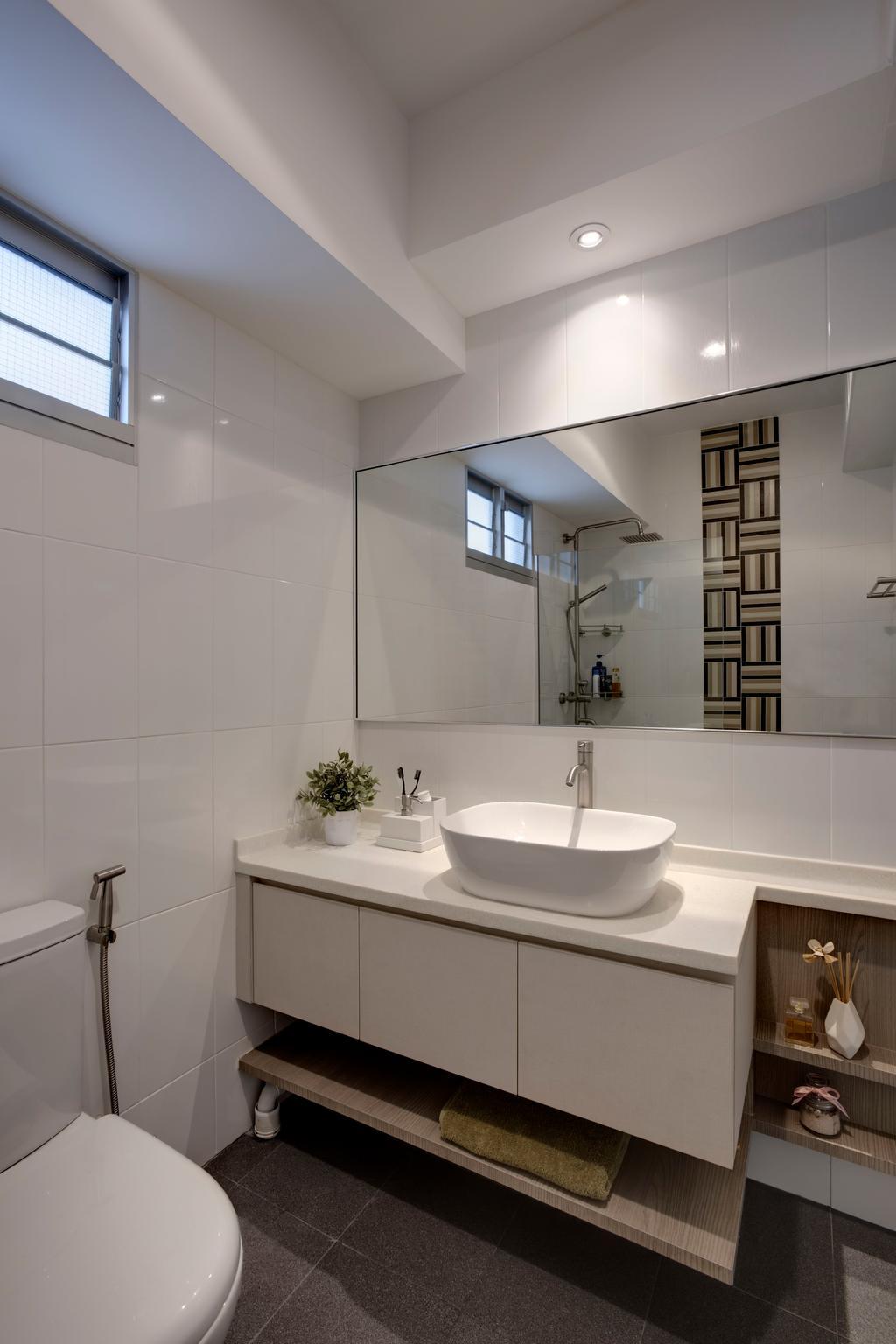 Contemporary, HDB, Bathroom, Tampines Street 86 (Block 871B), Interior Designer, Liid Studio, Down Lights, Toilet Cabinets, Indoors, Interior Design, Room
