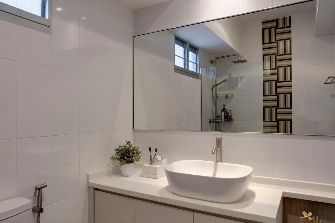 Tampines Street 86 (Block 871B), Liid Studio, Contemporary, Bathroom, HDB, Down Lights, Toilet Cabinets, Indoors, Interior Design, Room