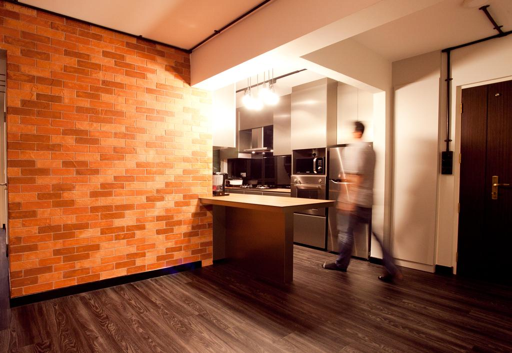Industrial, HDB, Dining Room, Punggol Place (Block 274A), Interior Designer, Voila, Brick Wall, Parquet, Human, People, Person, Floor