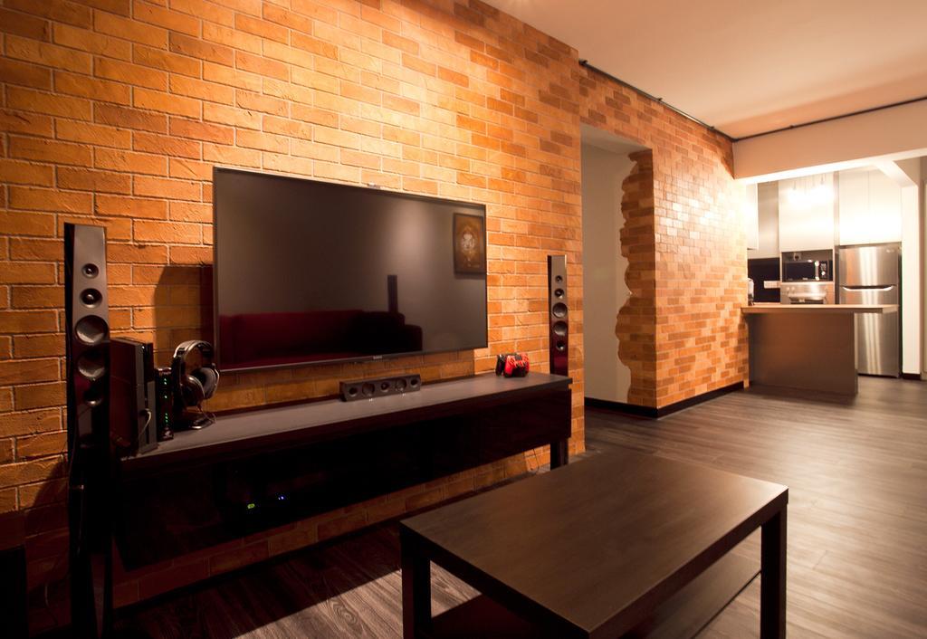 Industrial, HDB, Living Room, Punggol Place (Block 274A), Interior Designer, Voila, Brick Wall, Wood Furniture, Parquet, Indoors, Interior Design, Hardwood, Wood, Flooring