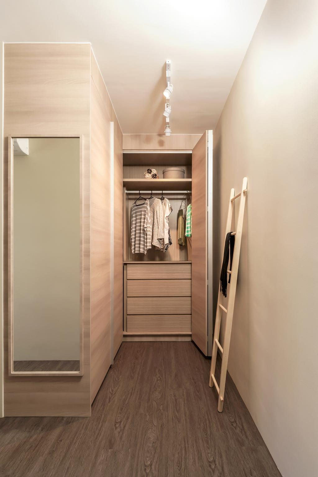 Contemporary, HDB, Bedroom, Fernvale Street (Block 471B), Interior Designer, Icon Interior Design, Scandinavian, Walk In Wardrobe, Built In Drawer, Carpentry, Track Light, Wall Mirror, Ladder Shower Rack, Closet, Furniture, Wardrobe