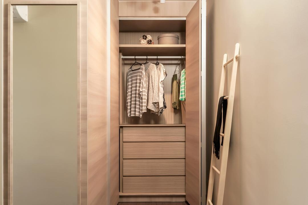 Fernvale Street (Block 471B), Icon Interior Design, Contemporary, Scandinavian, Bedroom, HDB, Walk In Wardrobe, Built In Drawer, Carpentry, Track Light, Wall Mirror, Ladder Shower Rack, Closet, Furniture, Wardrobe