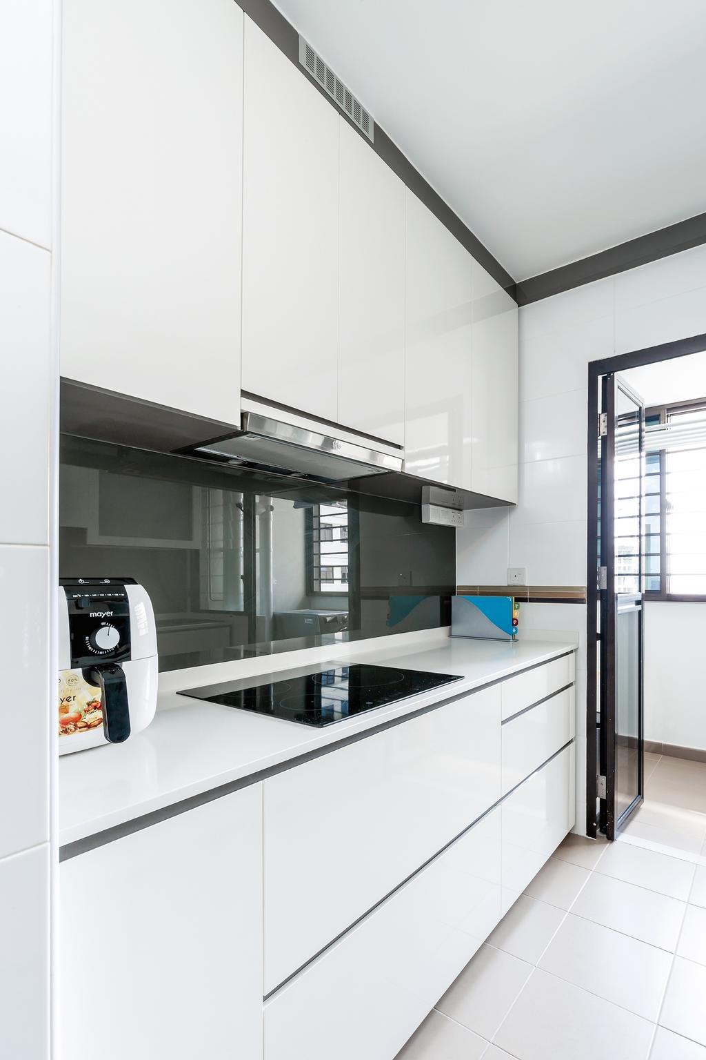 Contemporary, HDB, Kitchen, Fernvale Street (Block 471B), Interior Designer, Icon Interior Design, Scandinavian, Kitchen Glass Panel, White Theme Kitchen, Bright, Minimal Kitchen, Building, Housing, Indoors, Loft