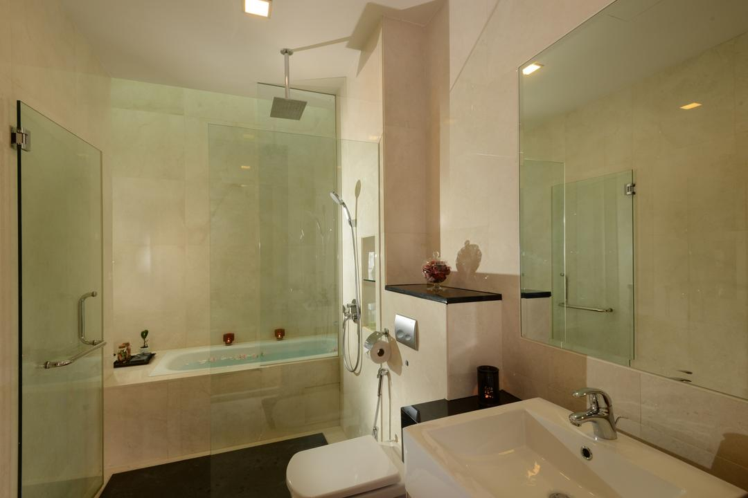 Ah Soo Gardens, Darwin Interior, Modern, Contemporary, Bathroom, Landed, Spacious Bathroom, Bathtub, Boxy Sink, Raindrop Shower, Marble Wall, Downlights, Wall Mirror Cabinet, In Wall Flushing System, Shower Glass Panel, Contemporary Toilet Bowl, Sink, Indoors, Interior Design, Room