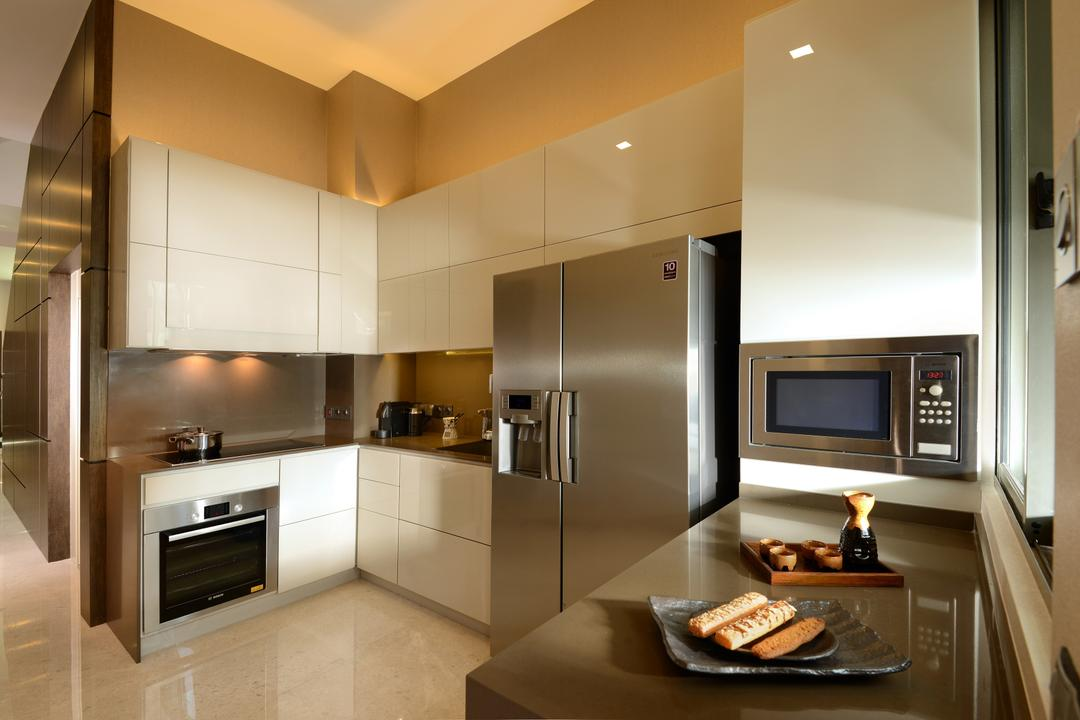 Ah Soo Gardens, Darwin Interior, Modern, Contemporary, Kitchen, Landed, Modern Contemporary Kitchen, Marble Flooring, Built In Appliances, White Cupboard, Built In Cupboard, High Ceiling, Indoors, Interior Design, Appliance, Electrical Device, Microwave, Oven