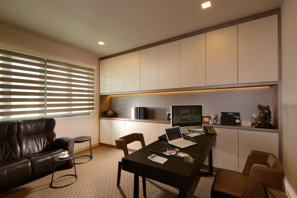 Modern, Landed, Study, Ah Soo Gardens, Interior Designer, Darwin Interior, Contemporary, Study Room, Built In Cupboard, White Cupboard, , Blinds, Study Table, Chair, Furniture, Electronics, Monitor, Screen, Tv, Television, Indoors, Room