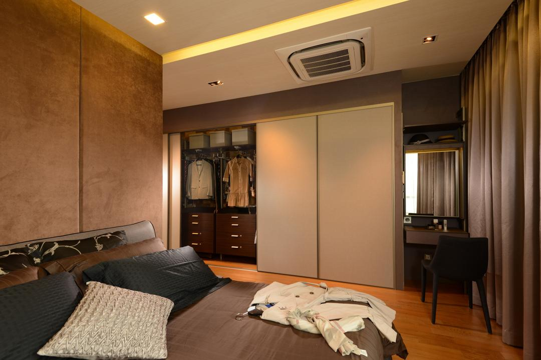 Ah Soo Gardens, Darwin Interior, Modern, Contemporary, Bedroom, Landed, Contemporary Bedroom, False Ceiling, Downlights, Sliding Wardrobe, Bed Feature Wall, Cove Lighting, Couch, Furniture, Indoors, Room, Interior Design