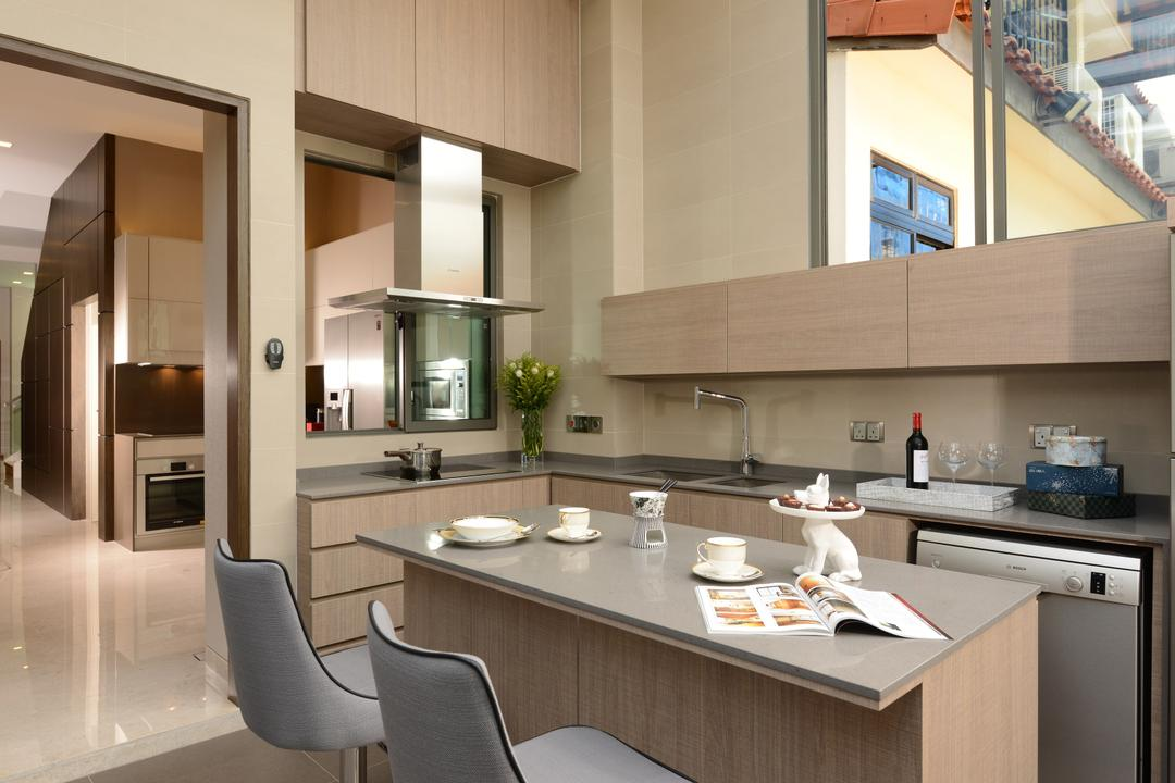 Ah Soo Gardens, Darwin Interior, Modern, Contemporary, Kitchen, Landed, Modern Contemporary Kitchen, Transitional Bar Stool, Double Volume Kitchen, Built In Cabinet, Kitchen Peninsula, Built In Cupboard, High Ceiling, Chair, Furniture, Dining Table, Table, Indoors, Interior Design, Room, Dining Room