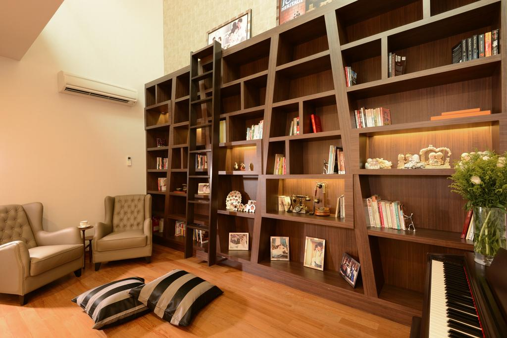 Modern, Landed, Living Room, Ah Soo Gardens, Interior Designer, Darwin Interior, Contemporary, Contemporary Living Room, Contemporary Bookshelves, Bookshelf Ladder, Vintage Armchair, Striped Cushions, Couch, Furniture, Leisure Activities, Music, Musical Instrument, Piano, Bookcase