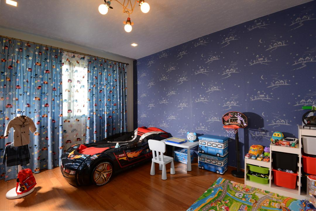 Ah Soo Gardens, Darwin Interior, Modern, Contemporary, Bedroom, Landed, Kids Bedroom, Fabric Curtain, Kids Wallpaper, Wooden Flooring, Car Bed, Kids Organization, Downlights, Car Rug, Human, People, Person