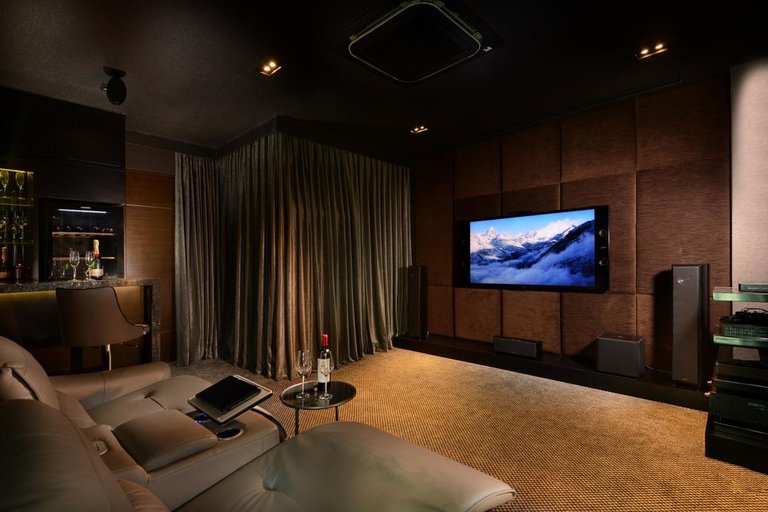 Ah Soo Gardens, Darwin Interior, Modern, Contemporary, Landed, Theatre Room, Downlights, Carpet, Lounge Chair, Black Ceiling, Transitional Bar Stool, Electronics, Entertainment Center, Home Theater, Couch, Furniture