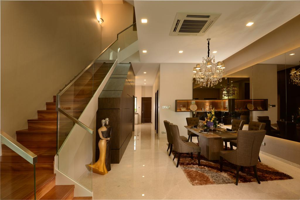 Modern, Landed, Dining Room, Ah Soo Gardens, Interior Designer, Darwin Interior, Contemporary, Couch, Furniture, Banister, Handrail, Staircase, Chair, Hardwood, Wood