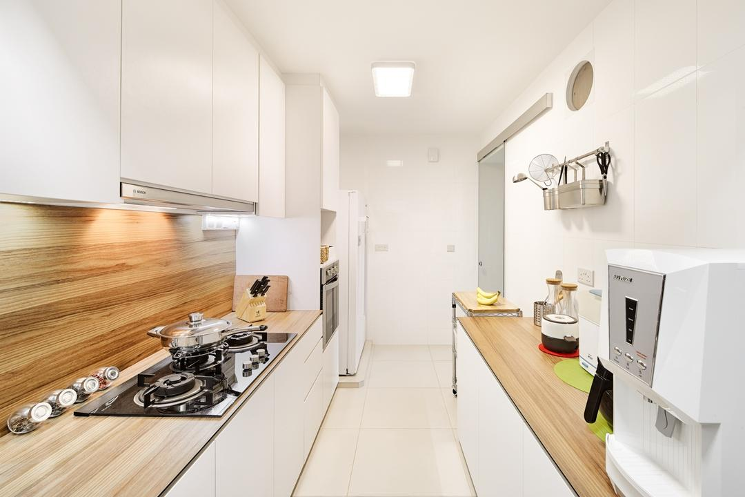 Punggol Walk (Block 308A), Absolook Interior Design, Modern, Scandinavian, Kitchen, HDB, Modern Scandinavian Kitchen, White Theme, Sink Countertop, Ceiling Light, Kitchen Wooden Panel, Carpentry, Clean, Neat, Bright, Appliance, Electrical Device, Microwave, Oven, Indoors, Interior Design