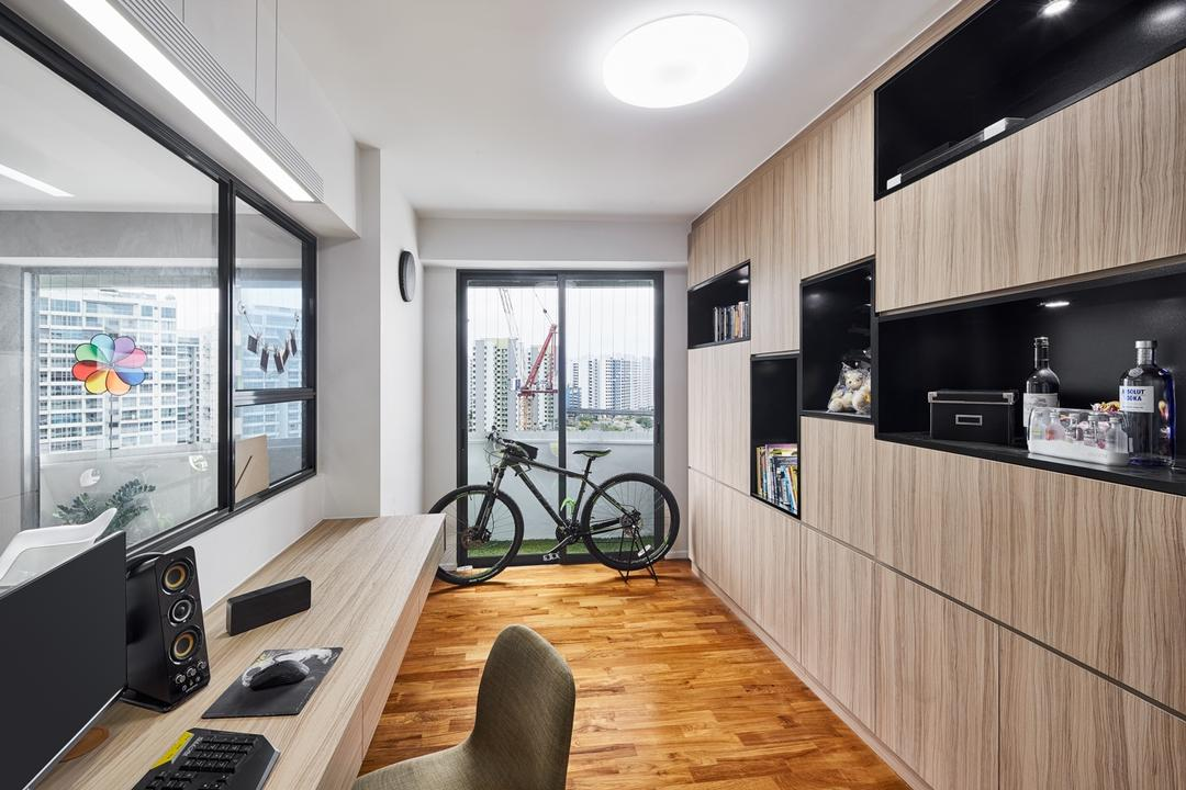 Punggol Walk (Block 308A), Absolook Interior Design, Modern, Scandinavian, Study, HDB, Study Room, Wooden Flooring, Ceiling Light, Carpentry, Sliding Door, Indoors, Interior Design, Appliance, Electrical Device, Microwave, Oven, Bicycle, Bike, Transportation, Vehicle