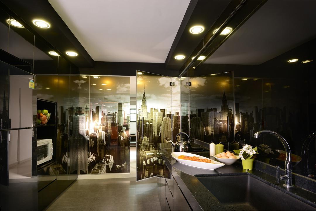 Ang Mo Kio, Darwin Interior, Modern, Contemporary, Kitchen, HDB, False Ceiling, Glass Wallpaper, Contemporary Kitchen, Kitchen Glass Panel, Laminated Countertop, Sink Faucet
