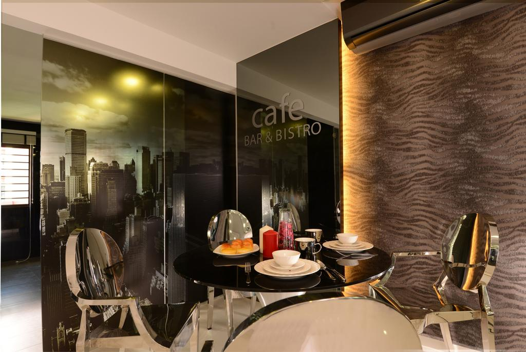 Modern, HDB, Dining Room, Ang Mo Kio, Interior Designer, Darwin Interior, Contemporary, Contemporary Dining Room, Glass Wallpaper, Black Tint Mirror, Chair, Furniture, Indoors, Interior Design, Room, Restaurant, Bowl