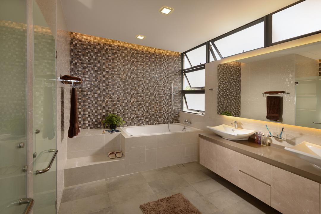 Brockhampton Drive, Darwin Interior, Modern, Contemporary, Bathroom, Landed, Spacious Bathroom, Bathtub, Vessel Sink, Sink Countertop, Downlights, Mosaic Tiles, Glass Door, Stairs, Mirror Lighting, Indoors, Interior Design, Room